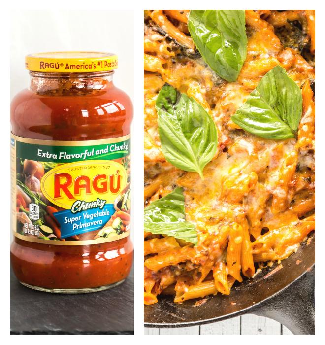 Veggie Pizza Pasta Bake with Ragu