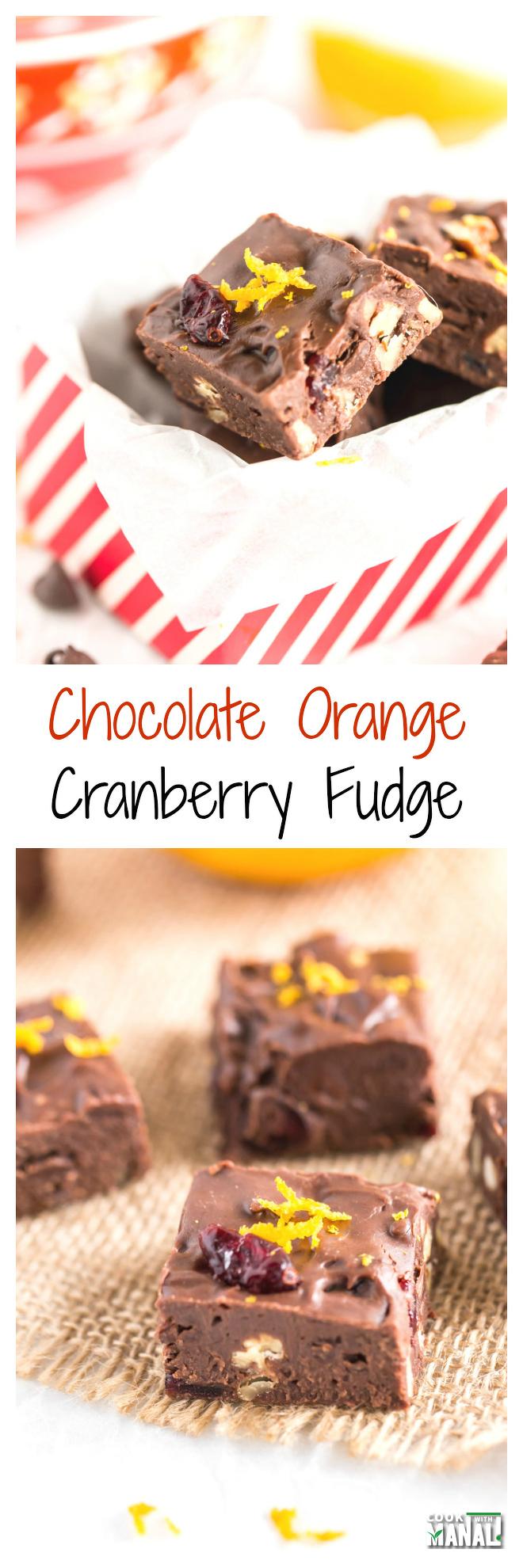 Chocolate Orange Cranberry Fudge Collage
