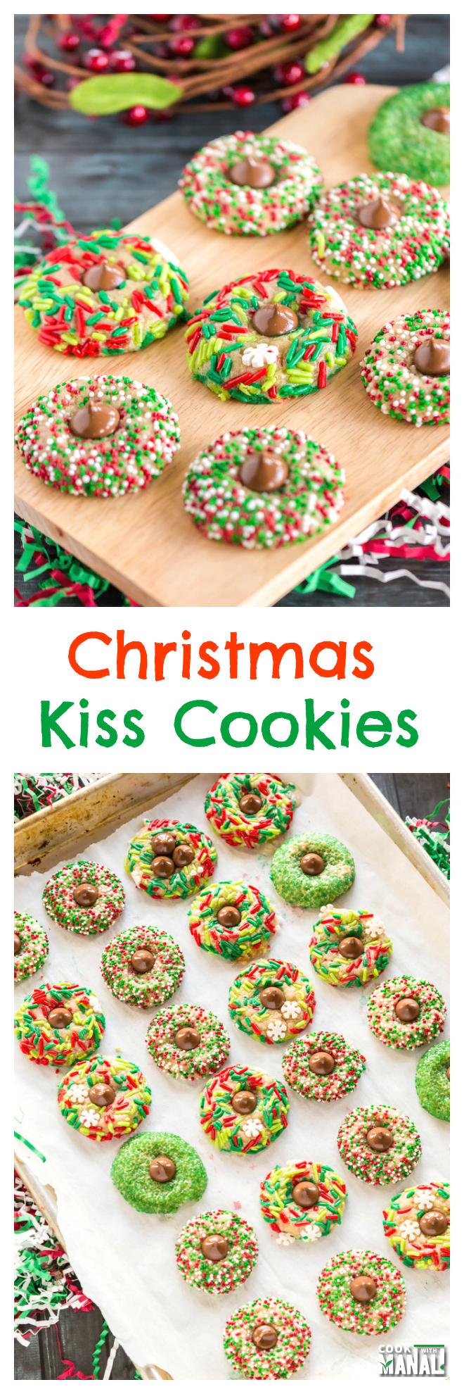Christmas Kiss Cookies Collage