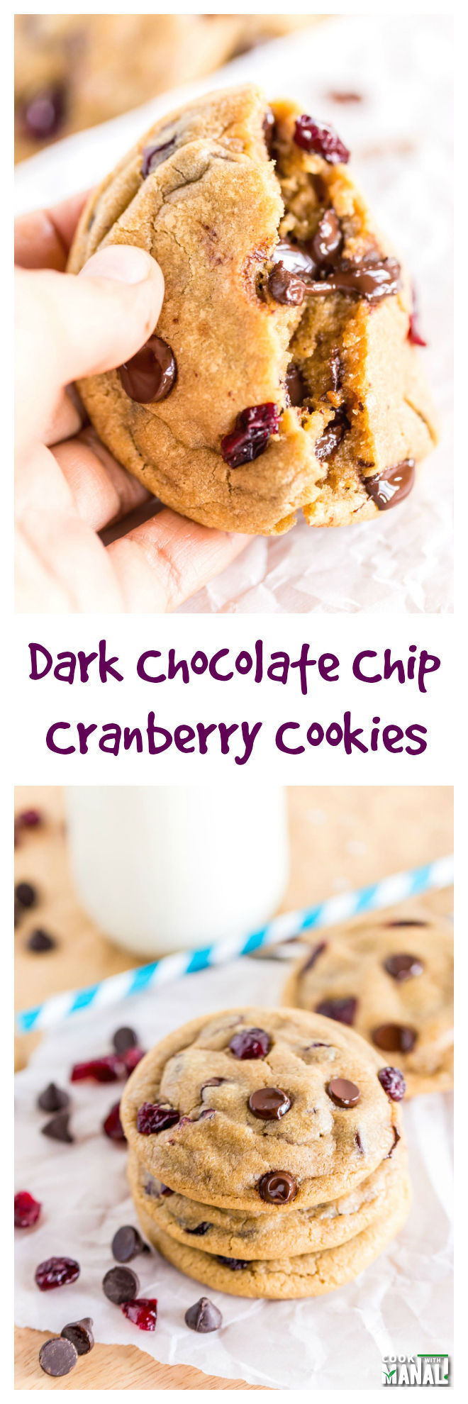Dark Chocolate Chip Cranberry Cookies Collage