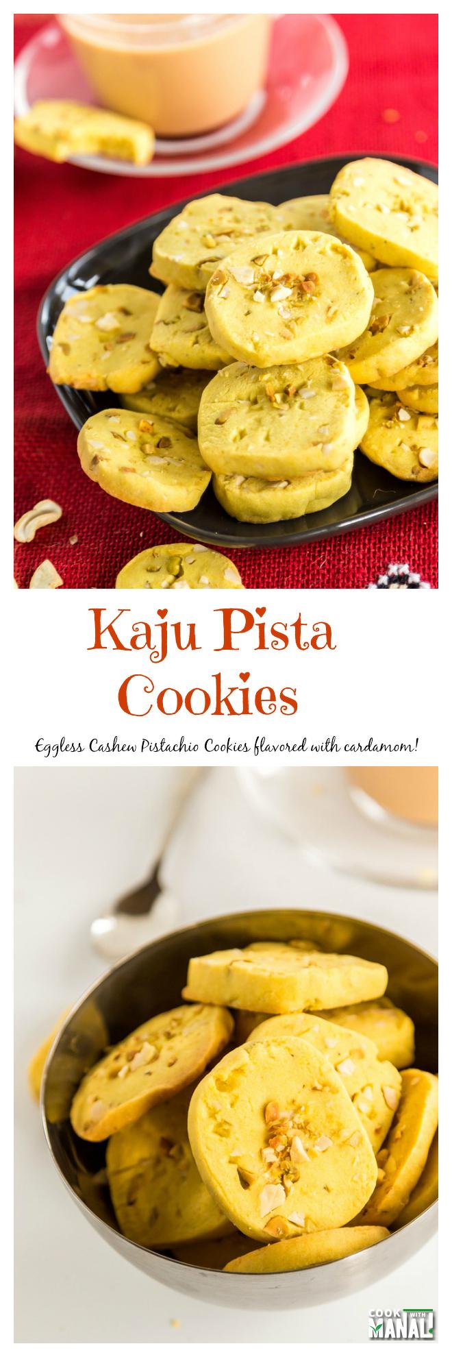 Eggless Kaju Pista Cookies Collage