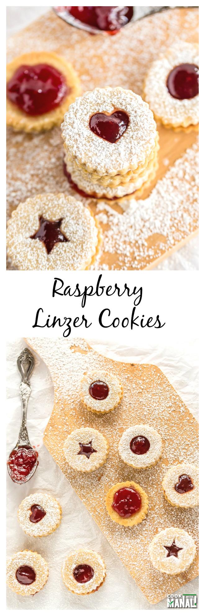 Raspberry Linzer Cookie Collage