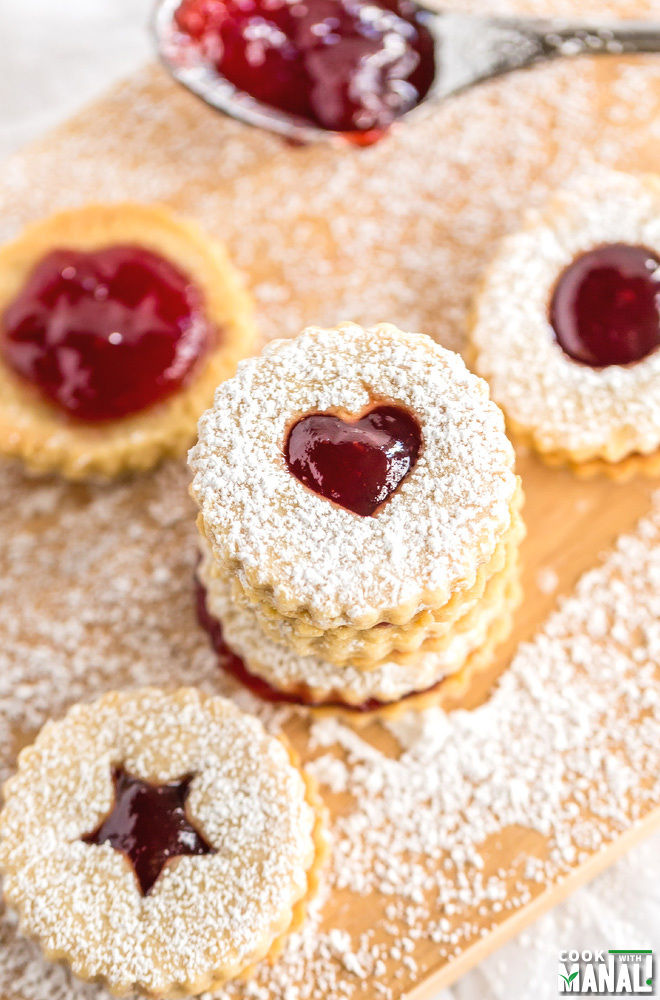 Raspberry Linzer Cookies - Cook With Manali