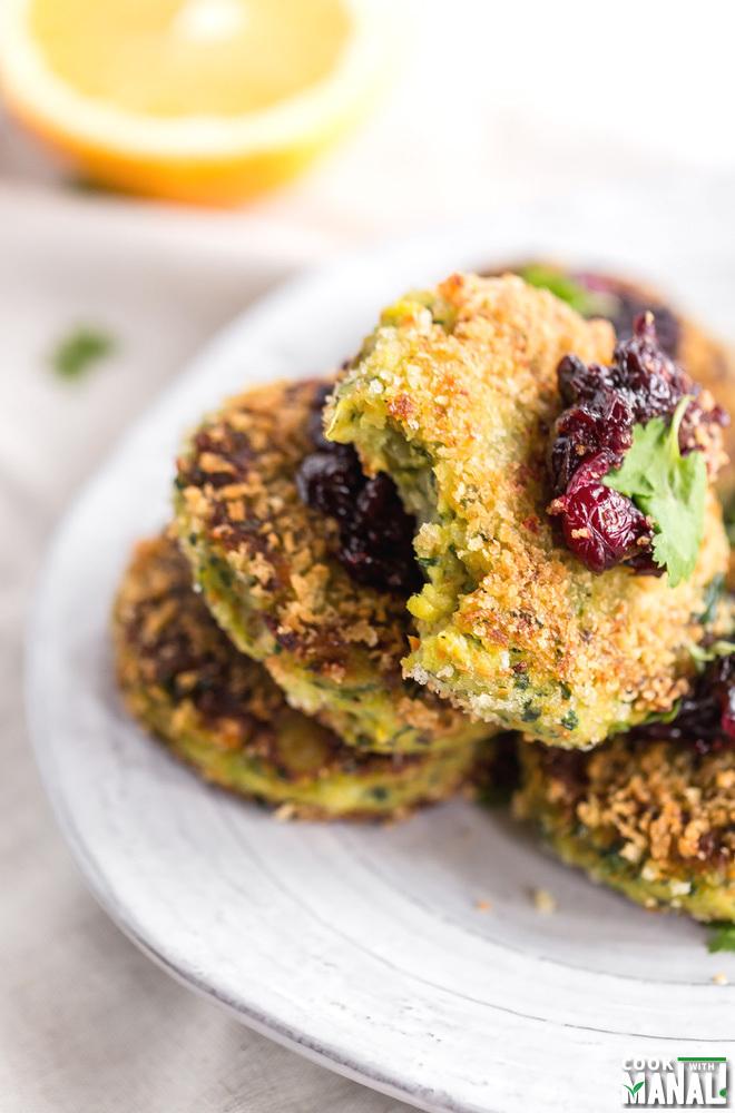 Veg Potato Cakes with Cranberry Chutney