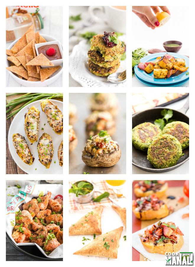 Vegetarian Appetizers for New Years Eve Collage