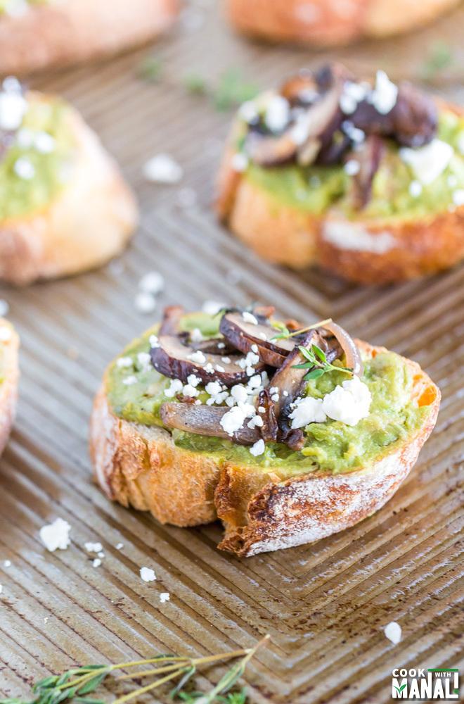 Avocado Mushroom Crostini