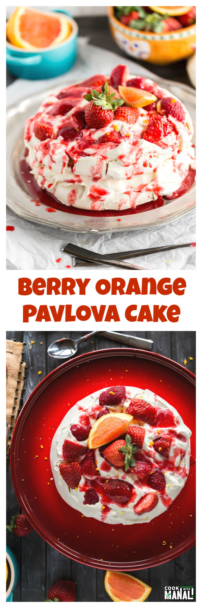 Berry Orange Pavlova Cake Collage