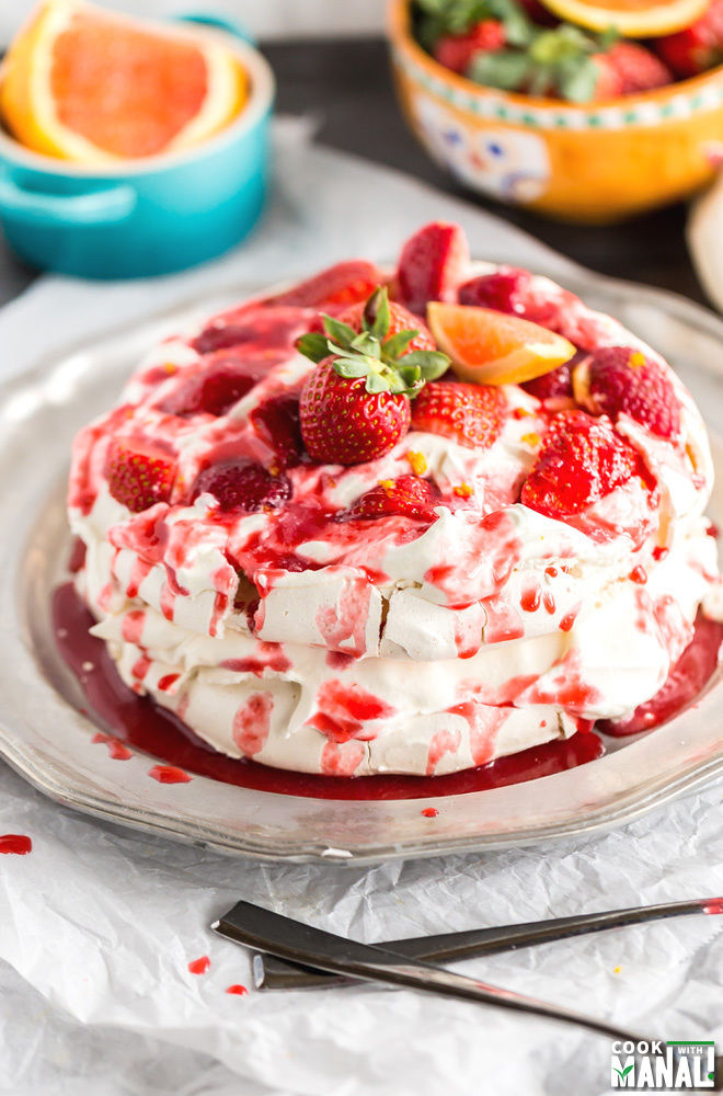 Berry Orange Pavlova Cake