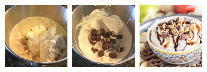Caramel Snickers Cheesecake Dip Recipe-Step-2