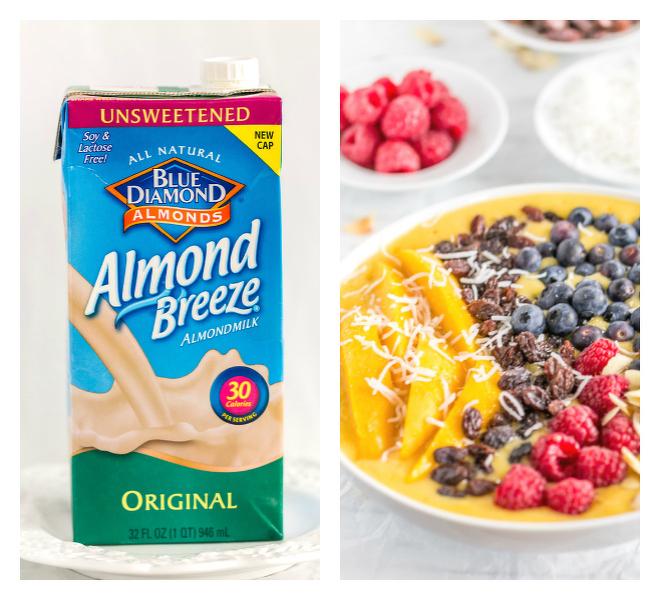 Mango Smoothie Bowl with Blue Diamond Almond Breeze Almondmilk