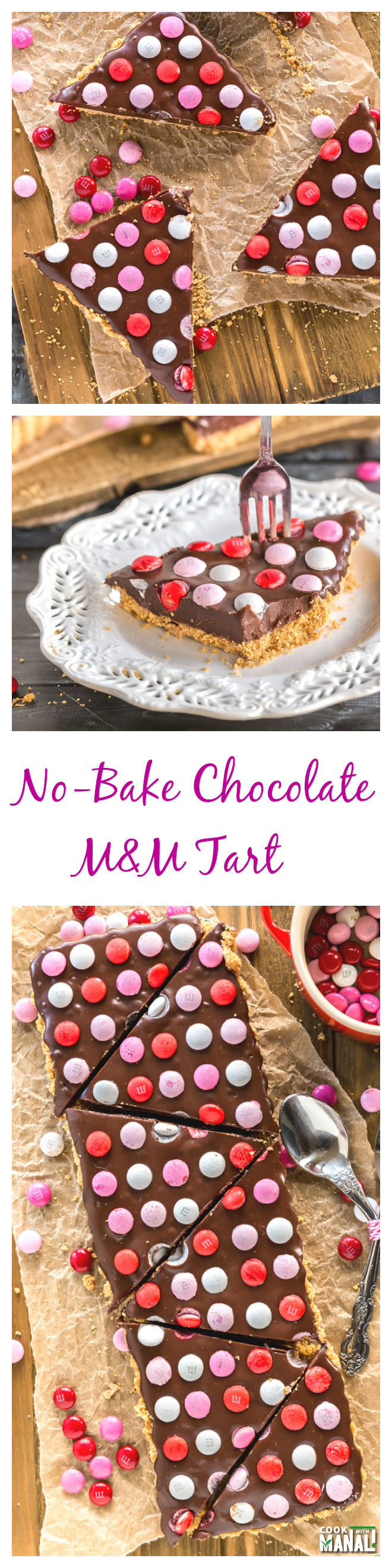 No-Bake Chocolate M&M Tart-Collage