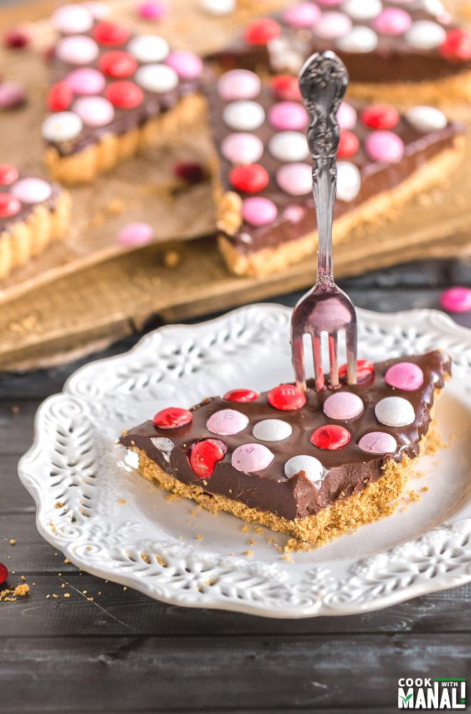 No Bake Chocolate M&M Tart
