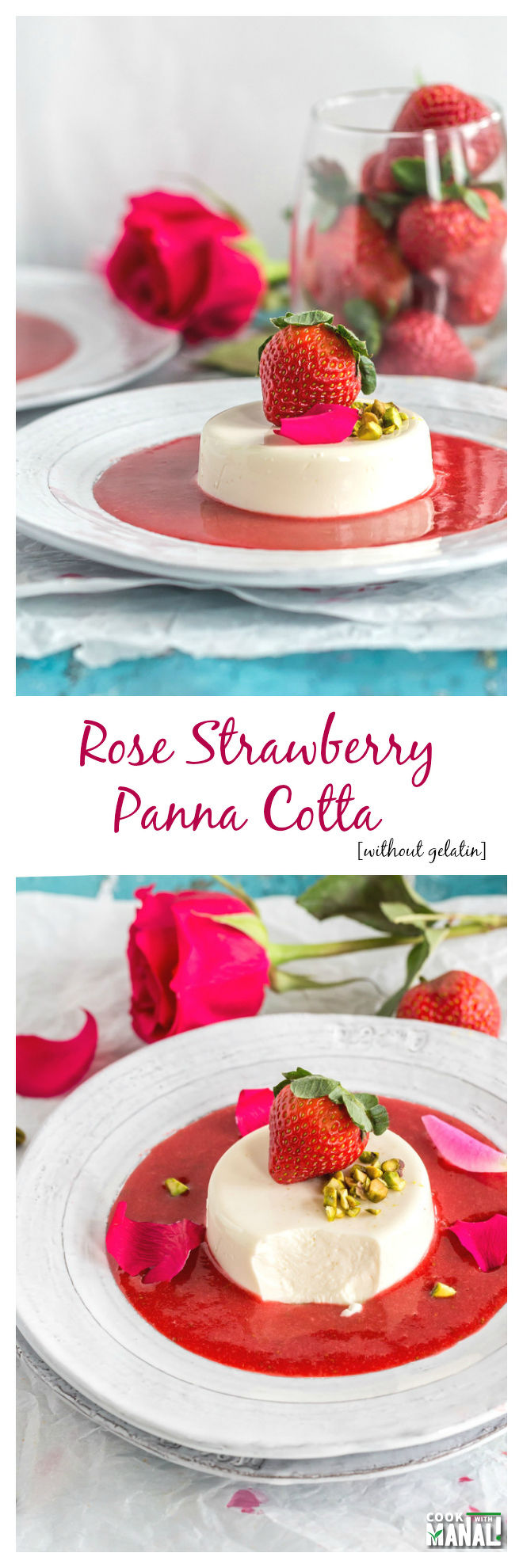 Rose Strawberry Panna Cotta Without Gelatin Collage