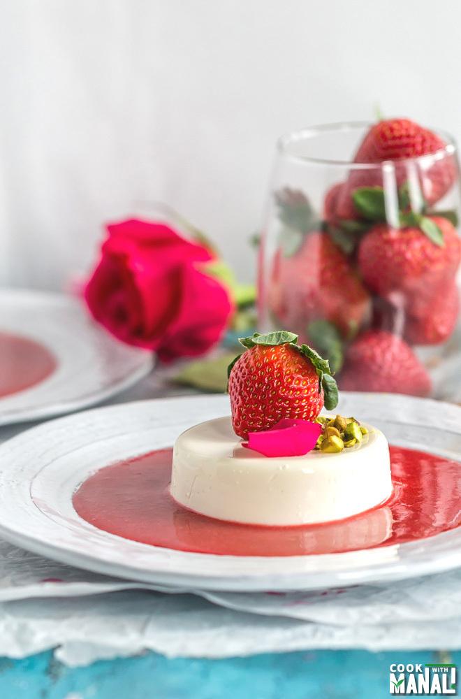 Rose Strawberry Panna Cotta