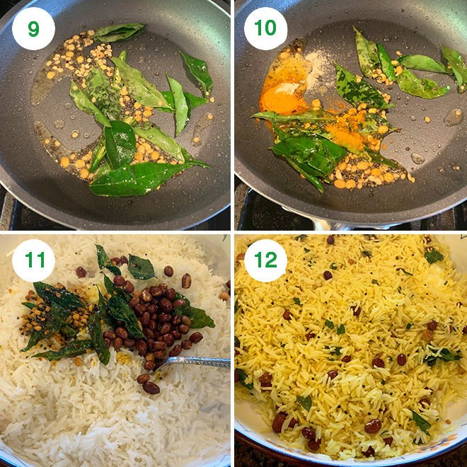 step by step picture collage of making lemon rice
