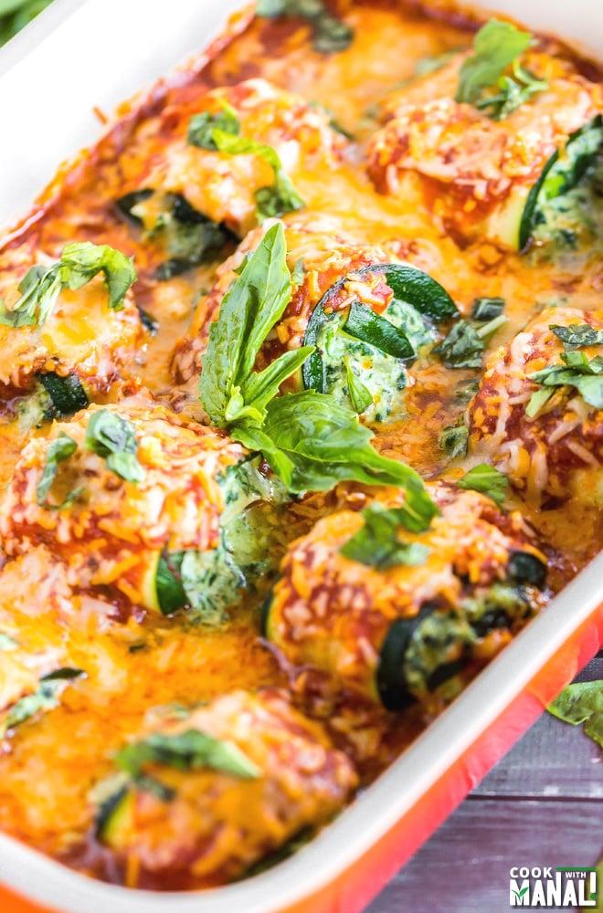 Spinach Zucchini Lasagna Rolls