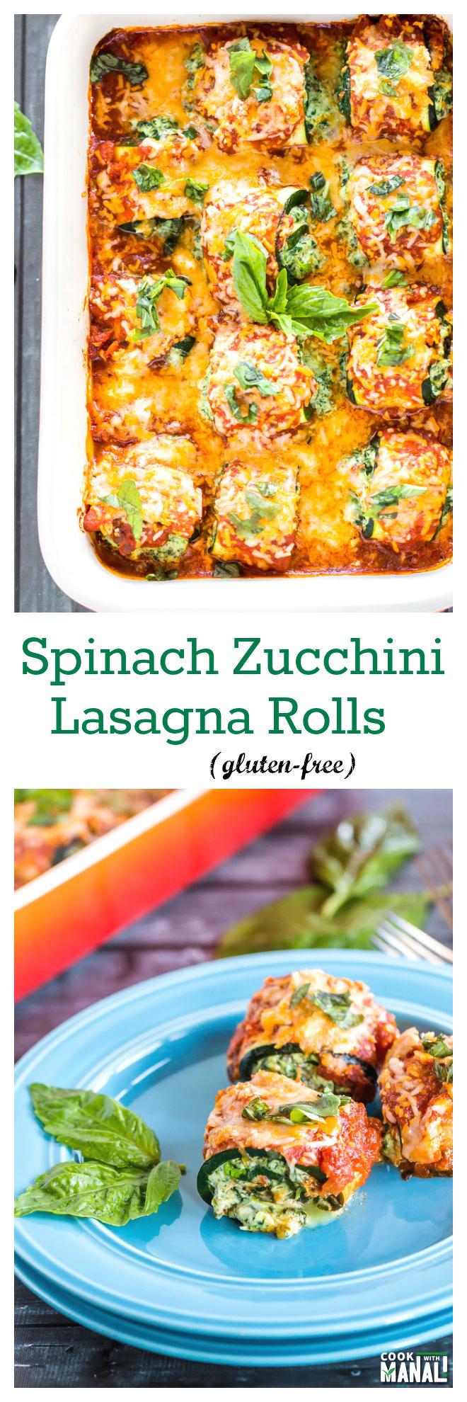 Zucchini Lasagna Rolls Collage