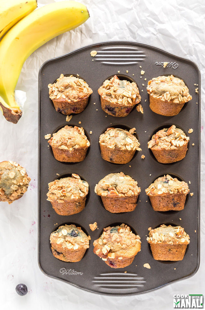 Banana Blueberry Streusel Mini Muffins - Cook With Manali