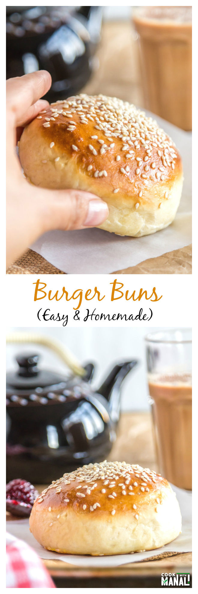Homemade Burger Buns Collage