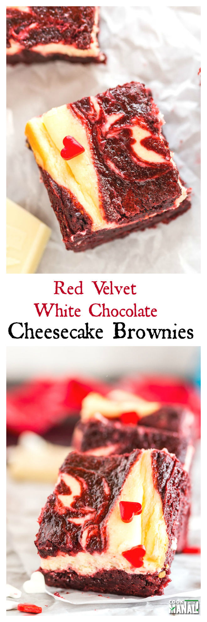 Red Velvet White Chocolate Cheesecake Brownies-Collage