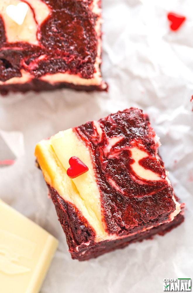 Red Velvet White Chocolate Cheesecake Brownies