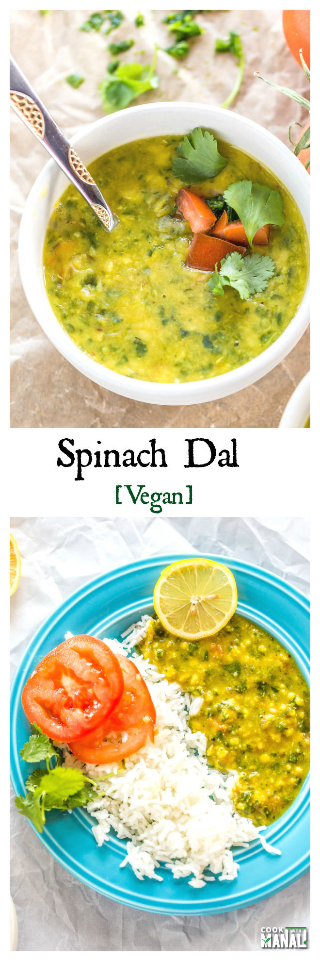 Spinach Dal Collage
