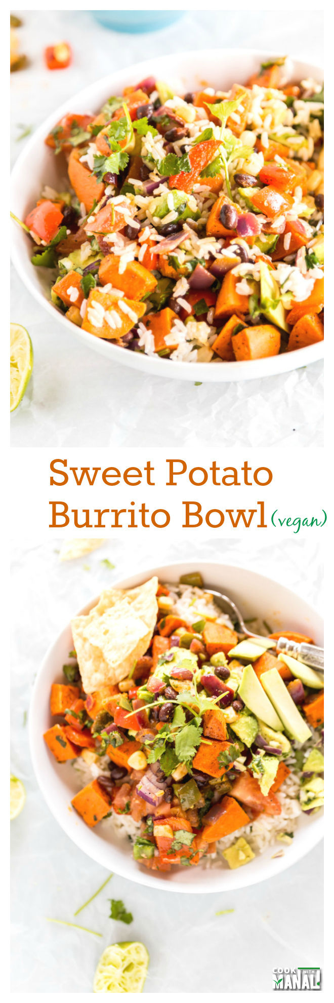 Sweet Potato Burrito Bowl Collage