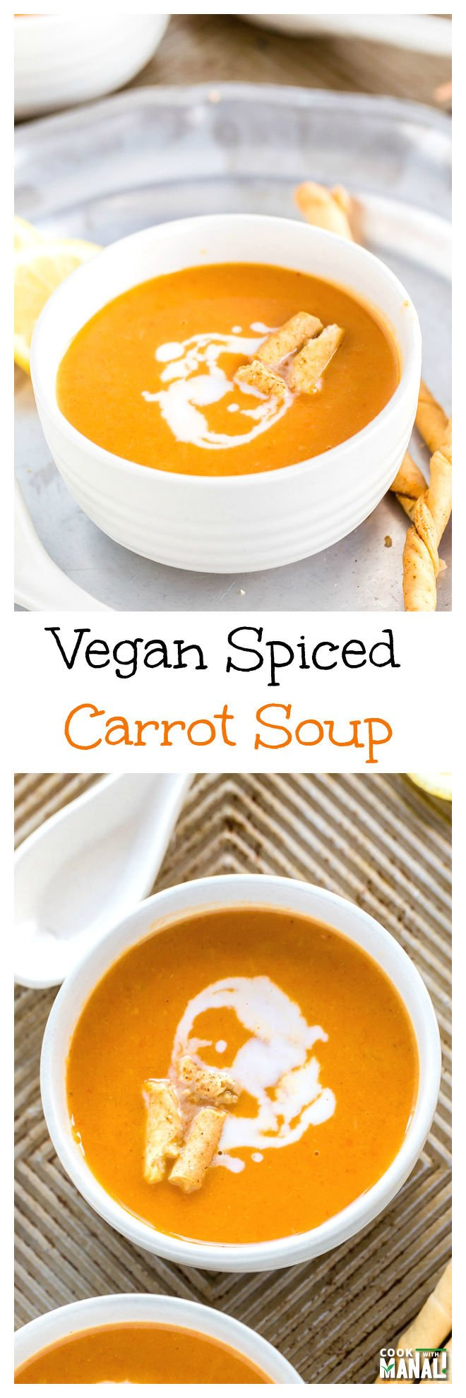 Vegan Spiced Carrot Soup Collage