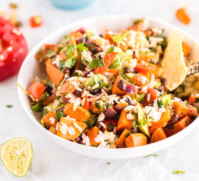 Vegan Sweet Potato Burrito Bowl-Square