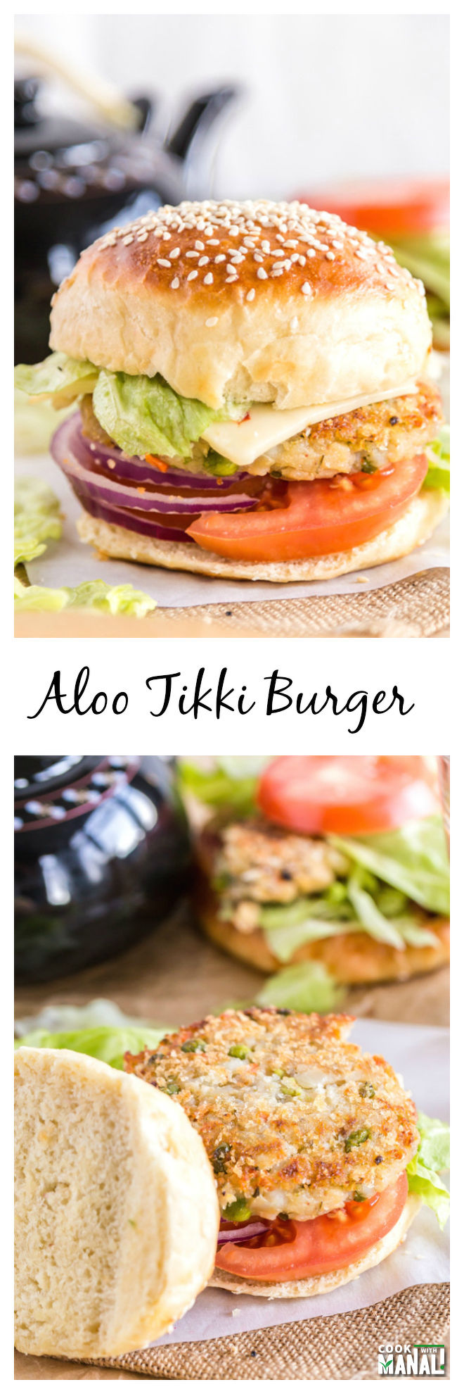 Aloo Tikki Burger Collage