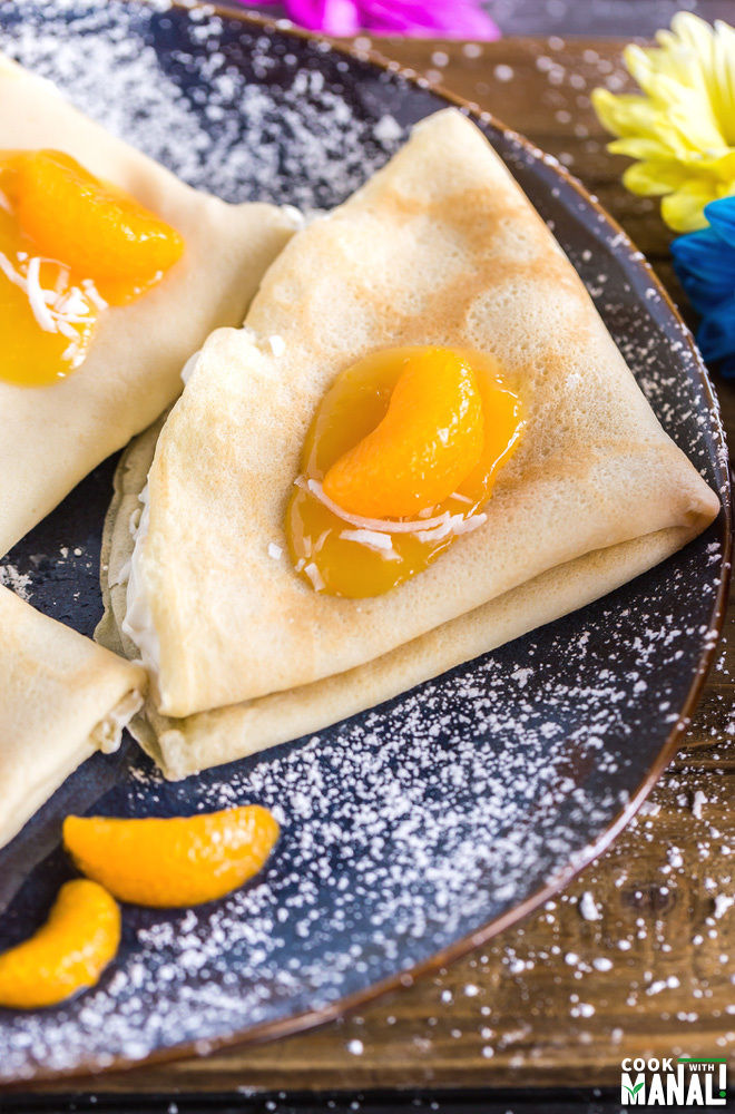 Coconut Orange Crepes with Orange Whipped Cream