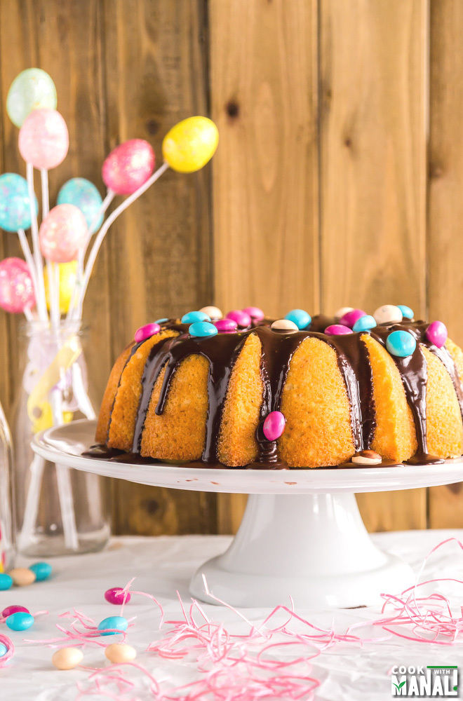 Easy Lemon Bundt Cake with Chocolate Glaze