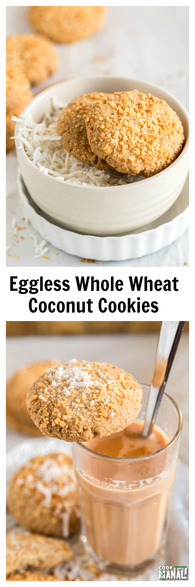 Eggless Coconut Cookies Collage