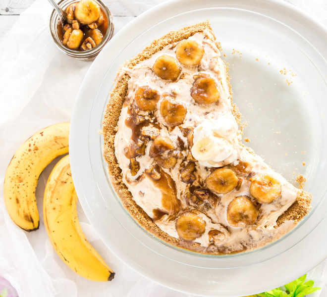 Frozen Banana Foster Ice cream Pie