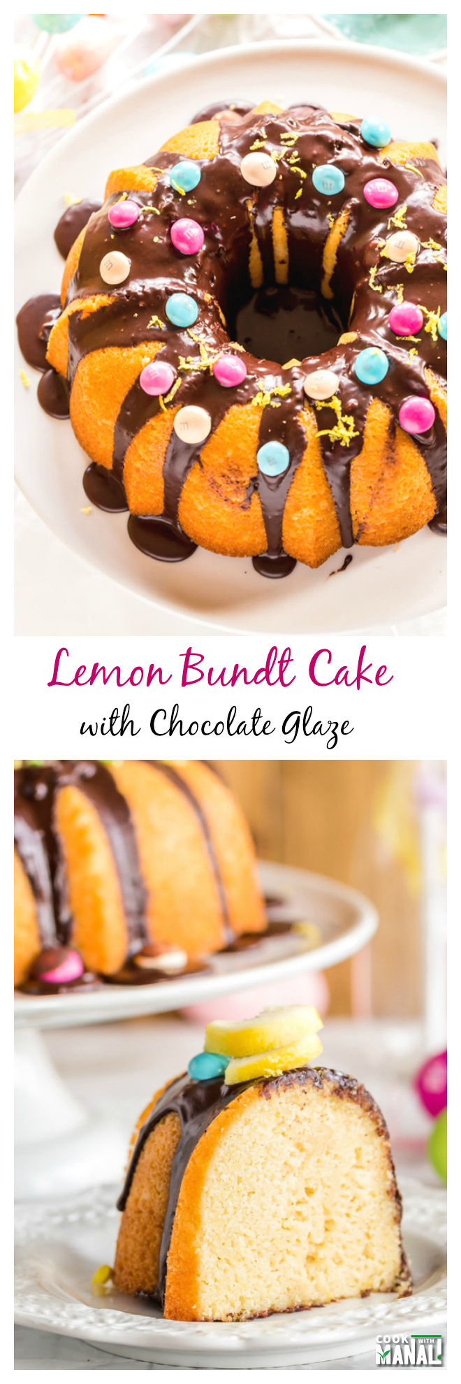 Lemon Bundt Cake with Chocolate Glaze Collage