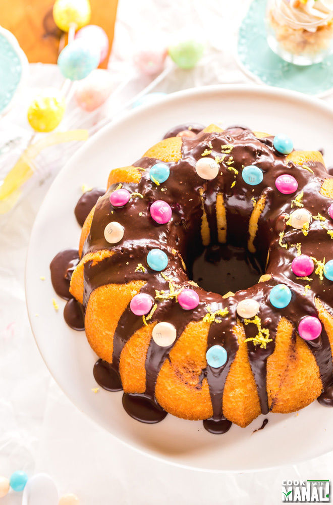 Lemon Bundt Cake with Chocolate Glaze