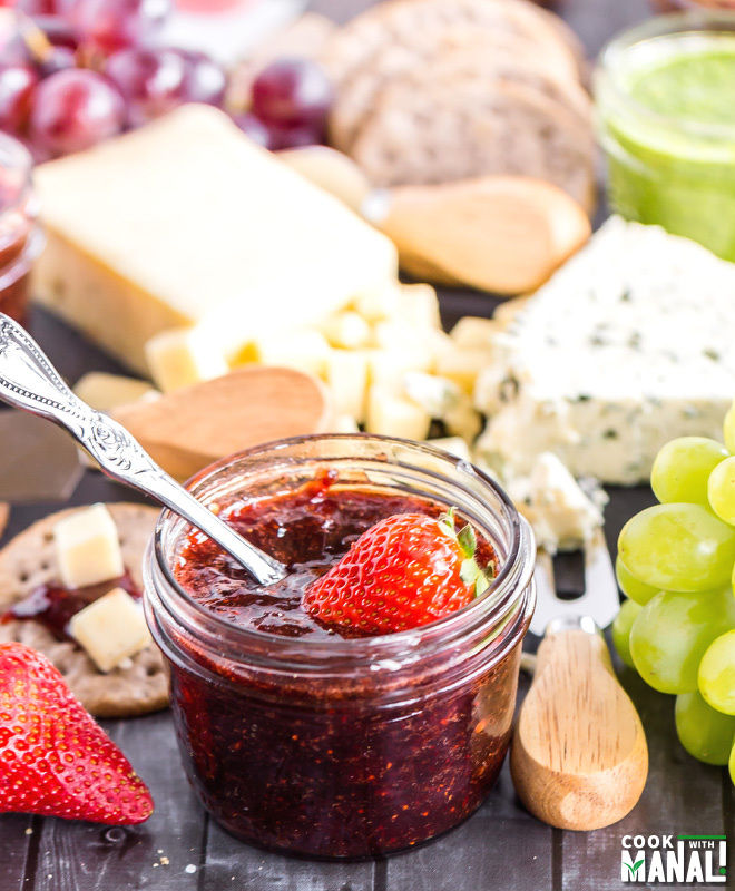 Spring Cheese Board with Spicy Strawberry Balsamic Jam-1