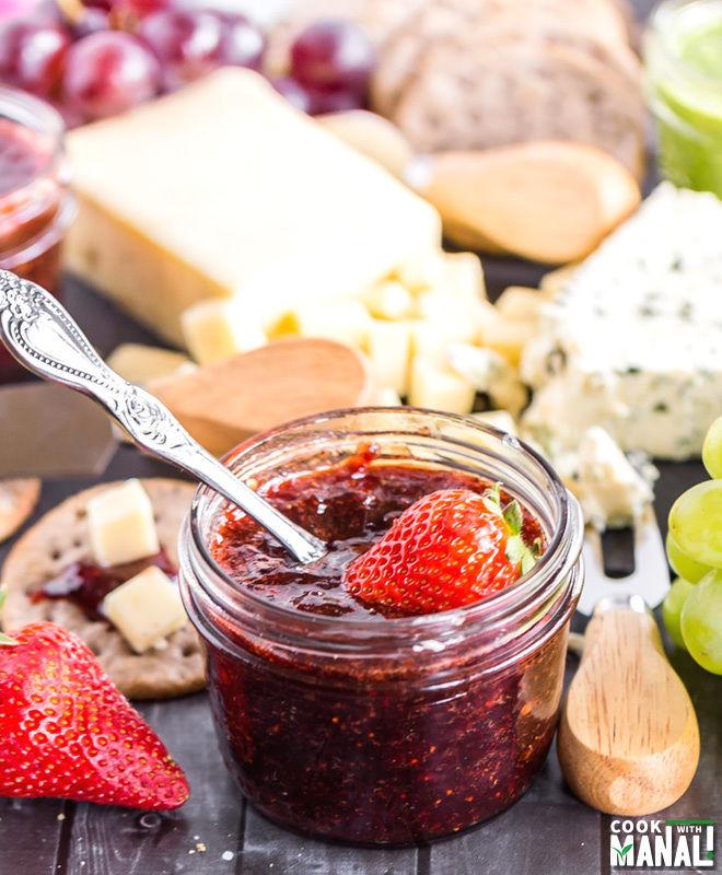 Spring Cheese Board with Spicy Strawberry Balsamic Jam