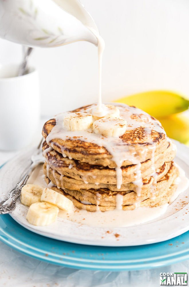Whole Wheat Banana Caramel Pancakes