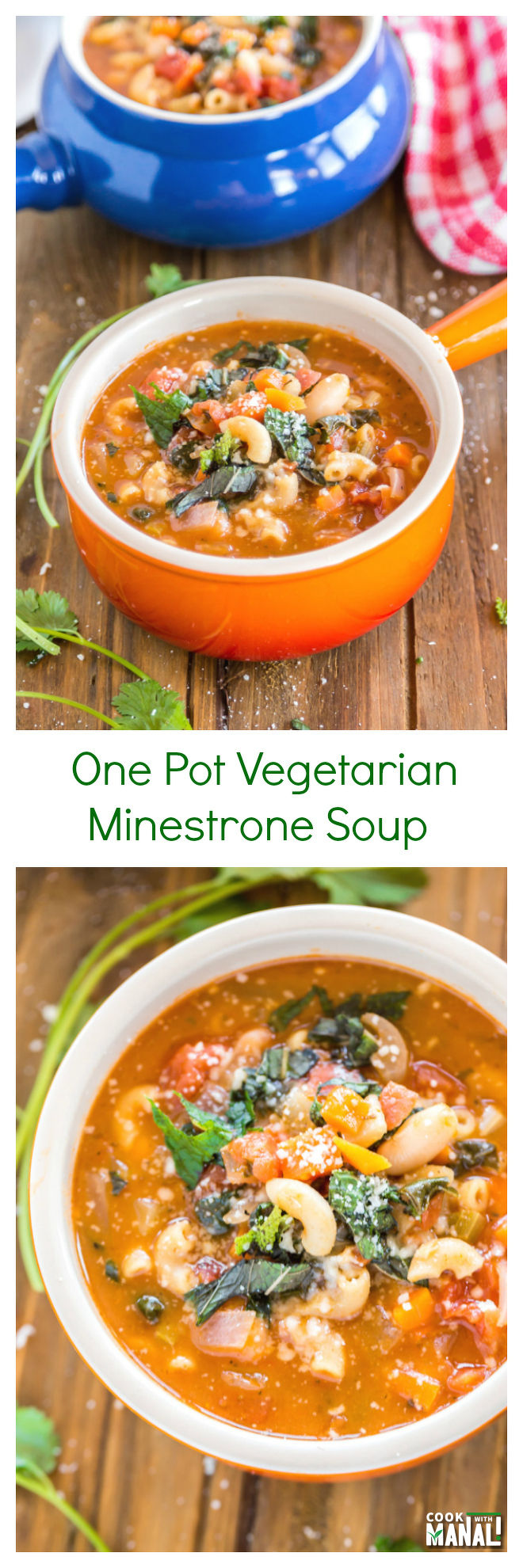 Vegetarian Minestrone Soup Collage