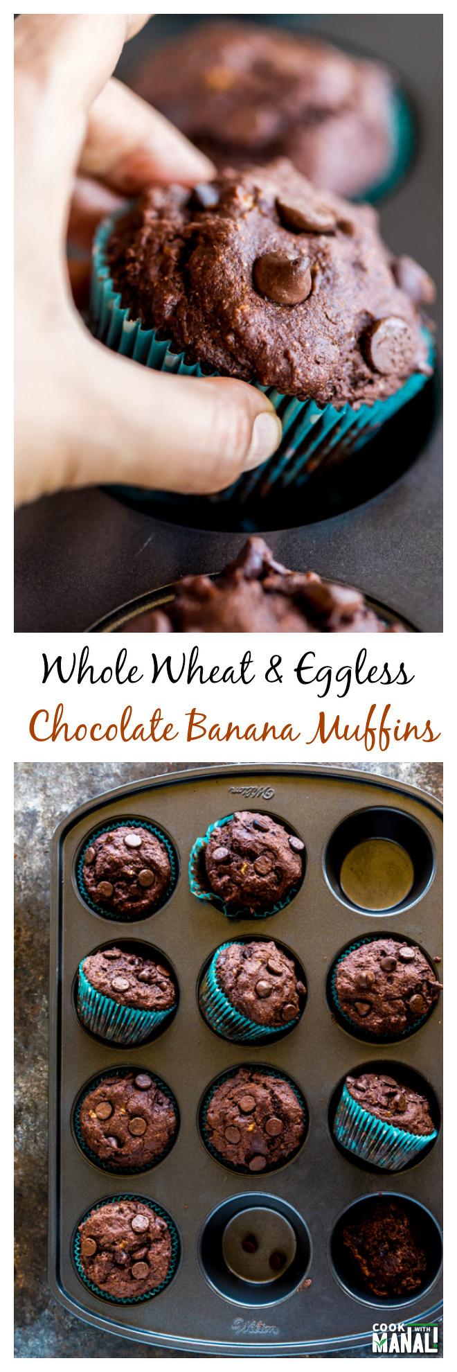 Whole Wheat Chocolate Banana Muffins Collage