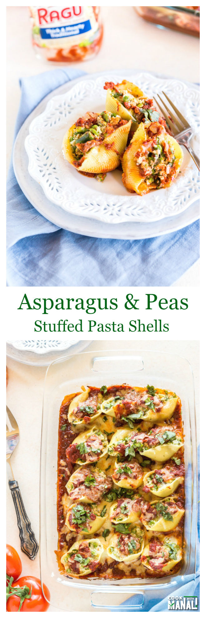 Peas Asparagus Stuffed Pasta Shells Collage