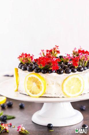 Eggless Blueberry Lemon Cake