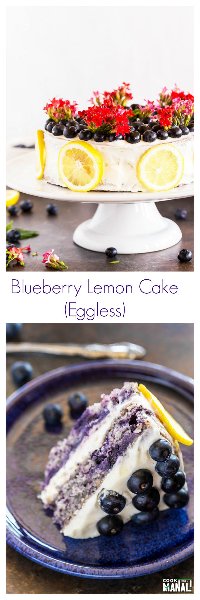Eggless Blueberry Lemon Cake-Collage