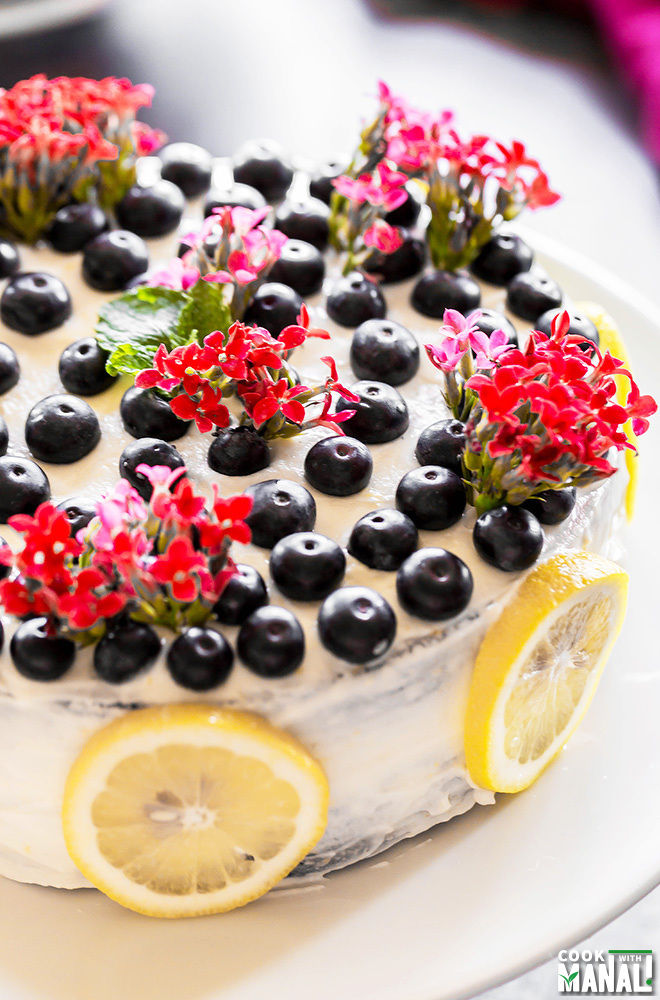 Eggless Blueberry Lemon Cake Recipe
