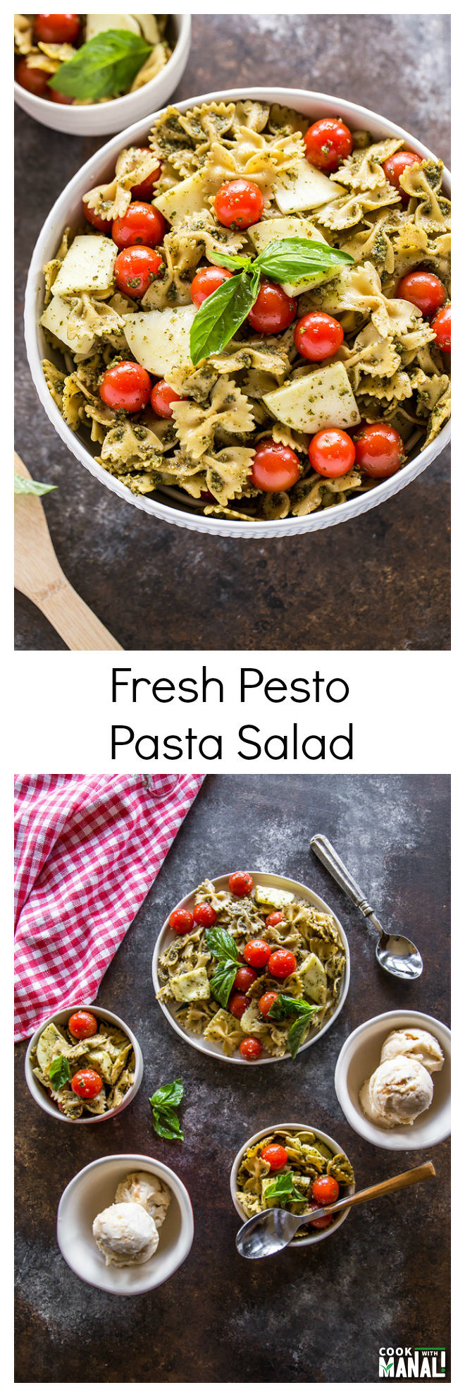 Fresh Pesto Pasta Salad-Collage
