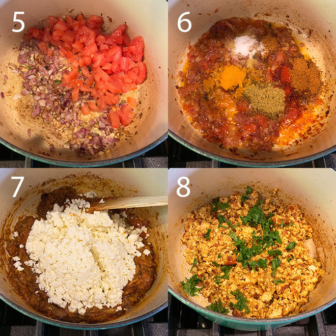step by step pictures of making paneer bhurji