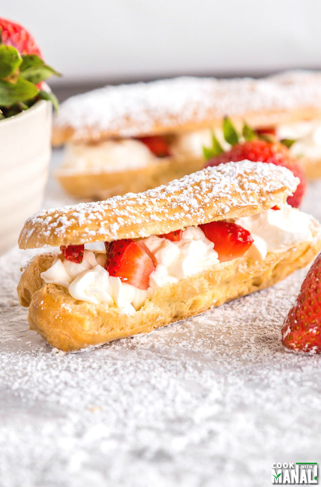 Strawberries and Cream Eclairs Recipe