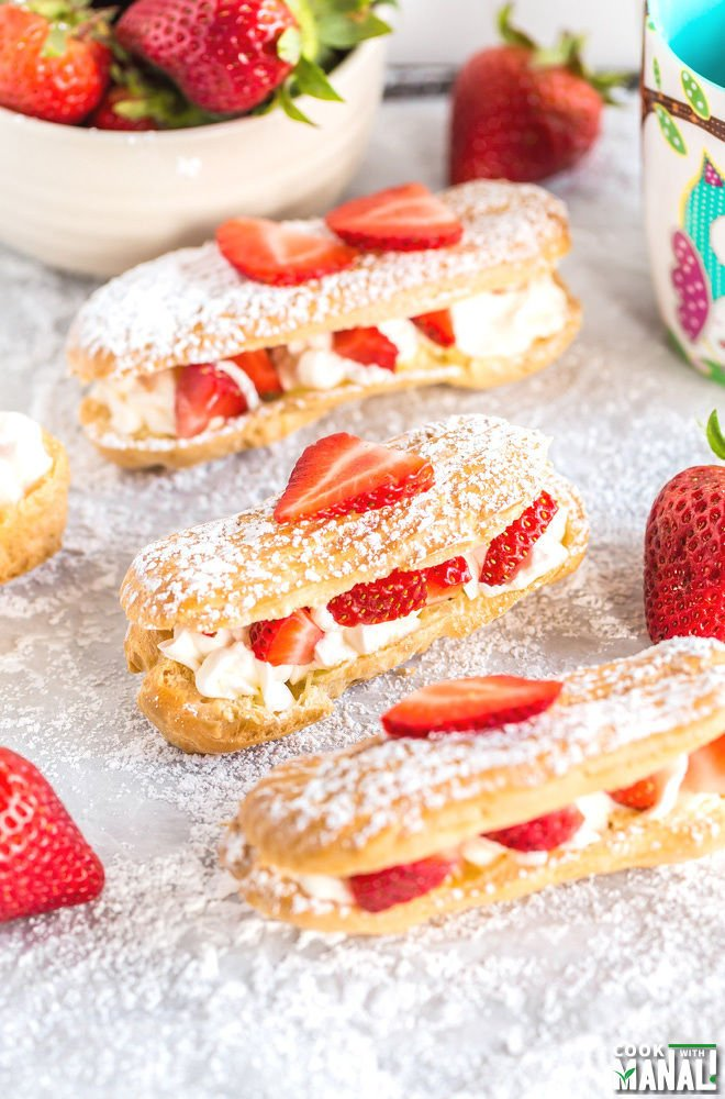 Strawberries and Cream Eclairs