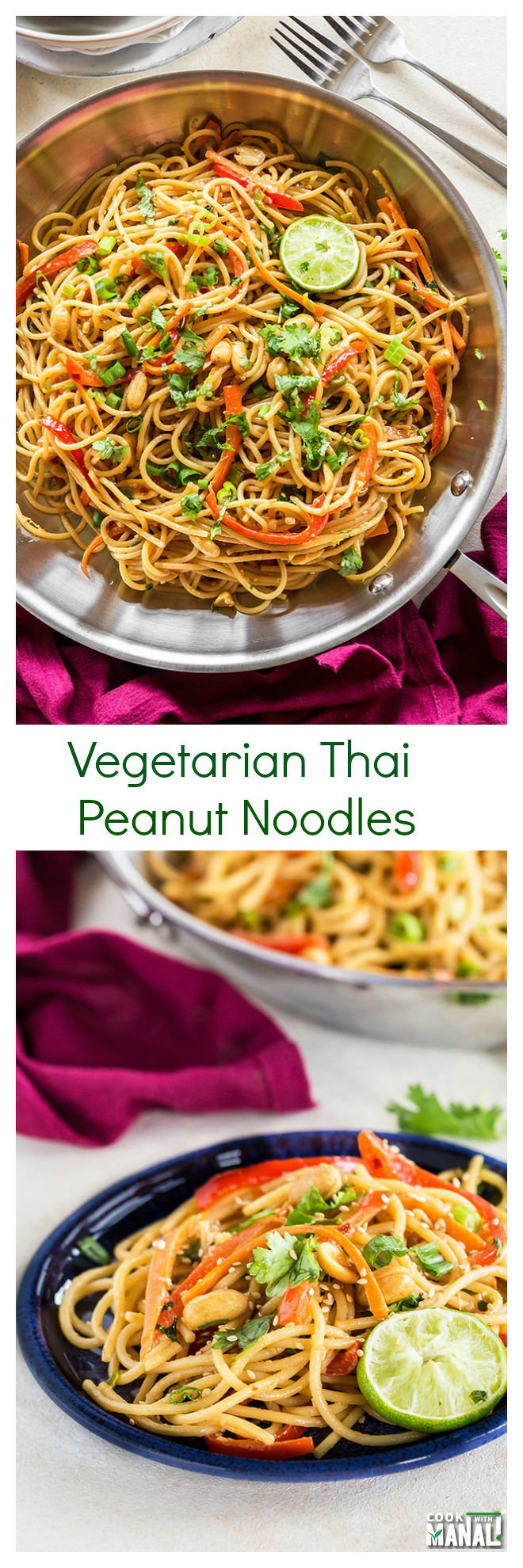 Vegetarian Thai Peanut Noodles Collage